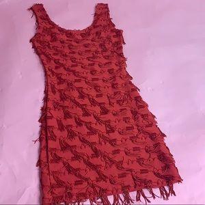 Vintage Red Fringe Mini Dress